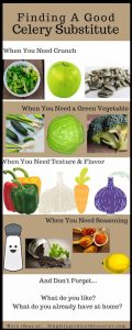 """Infographic with white and tan background with title """"Finding a good celery substitute"""" for Single Ingredient Groceries"""