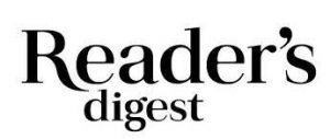 """WHITE BACKGROUND WITH BLACK TEXT """"READERS DIGEST"""" - READERS DIGEST LOGO"""