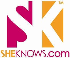 LOGO FOR SHEKNOWS.COM WITH PINK AND YELLOW BACKGROUND