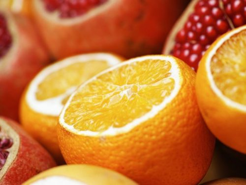 Sliced Oranges and Red Fruit for Single Ingredient Groceries