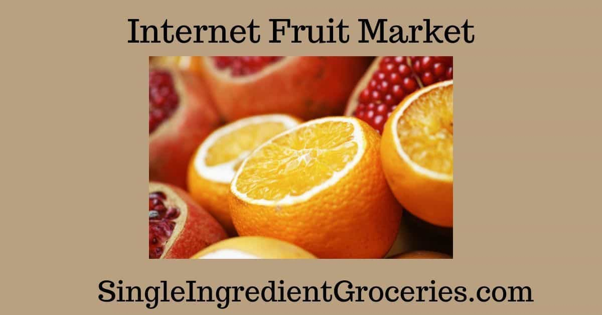 "TAN BACKGROUND WITH IMAGE OF SLICED ORANGES AND POMEGRANATES, with text ""Internet Fruit Market"" for Single Ingredient Groceries."