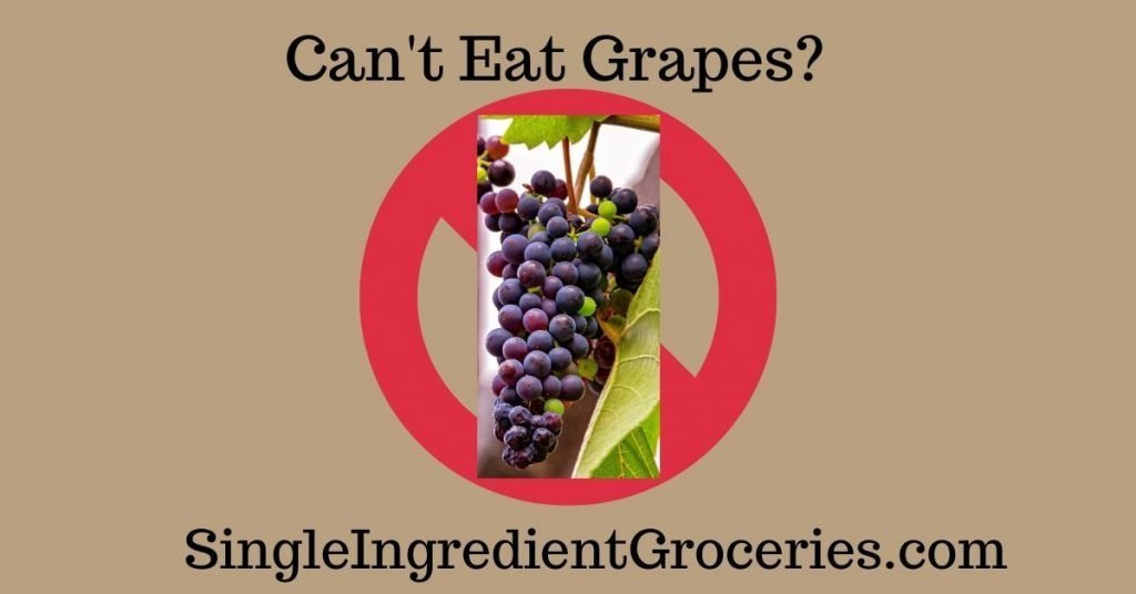 "FEATURED IMAGE FOR SINGLE INGREDIENT GROCERIES . COM; TAN BACKGROUND WITH TEXT ""CAN'T EAT GRAPES?"" AND ""SingleIngredientGroceries.com"" with image of bunch of purple grapes superimposed over red no symbol, red circle with backslash."