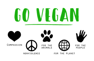 "WHITE BACKGROUND WITH GREEN WORDS ""GO VEGAN"" AND LOGOS SHOWING VEGAL ETHICS AND VALUES"