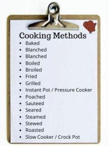 "CLIPBOARD WITH TEXT TITLED ""COOKING METHODS"" AND IMAGE OF OVEN MITS"