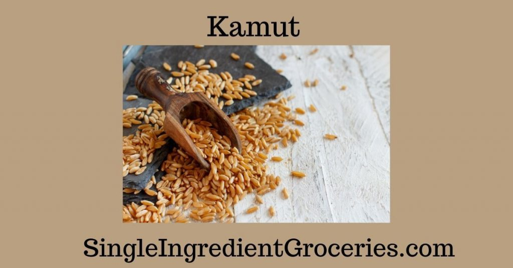 """BLOG IMAGE FOR SINGLE INGREDIENT GROCERIES TITLED """"KAMUT"""" WITH AN IMAGE OF KAMUT GAINS ON A PLATE WITH A WHITE BACKGROUND"""