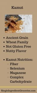 """INFOGRAPHIC TITLED """"KAMUT"""" WITH IMAGE OF KAMUT WHOLE GRAIN AND LIST OF INFORMATION ABOUT KAMUT"""