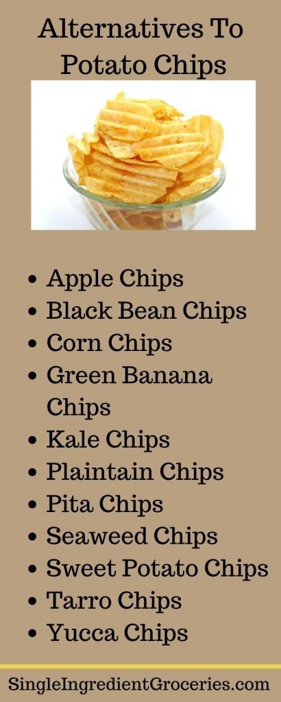 "INFOGRAPHIC FOR SINGLE INGREDIENT GROCERIES TITLED ""ALTERNATIVES TO POTATO CHIPS"" WITH PHOT OF BOWL OF POTATO CHIPS ON WHITE BACKGROUND AND LIST OF ALTERNATIVE FOODS"
