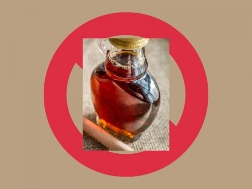 "TAN BACKGOUND WITH TITLE ""MAPLE SYRUP ALLERGY"" FOIMAGE OF MAPLE SYRUP OVER A RED CIRCLE WITH A STRIKE THROUGH INDICATING ""NO"""