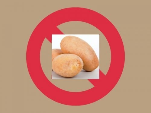TAN BACKGROUND WITH PHOTO OF POTATO ON BACKGROUND OF RED CIRCLE WITH STRIKE THROUGH FOR BLOG POST ABOUT POTATO ALLERGY