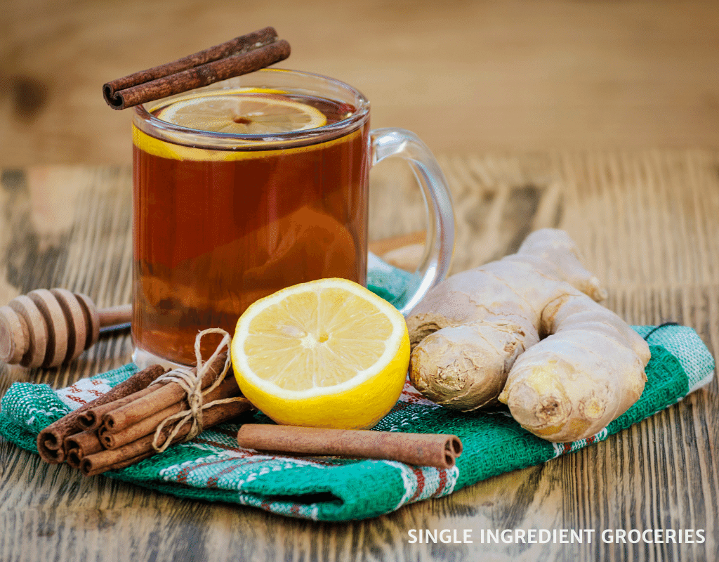 black ginger tea with lemon