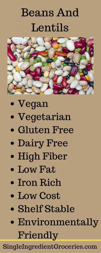 """INFOGRAPHIC TITLED """"BEANS AND LENTILS"""" WITH PHOTO OF DRIED BEANS, PEAS, LENTILS AND LIST OF BENEFITS OF EATING BEANS"""