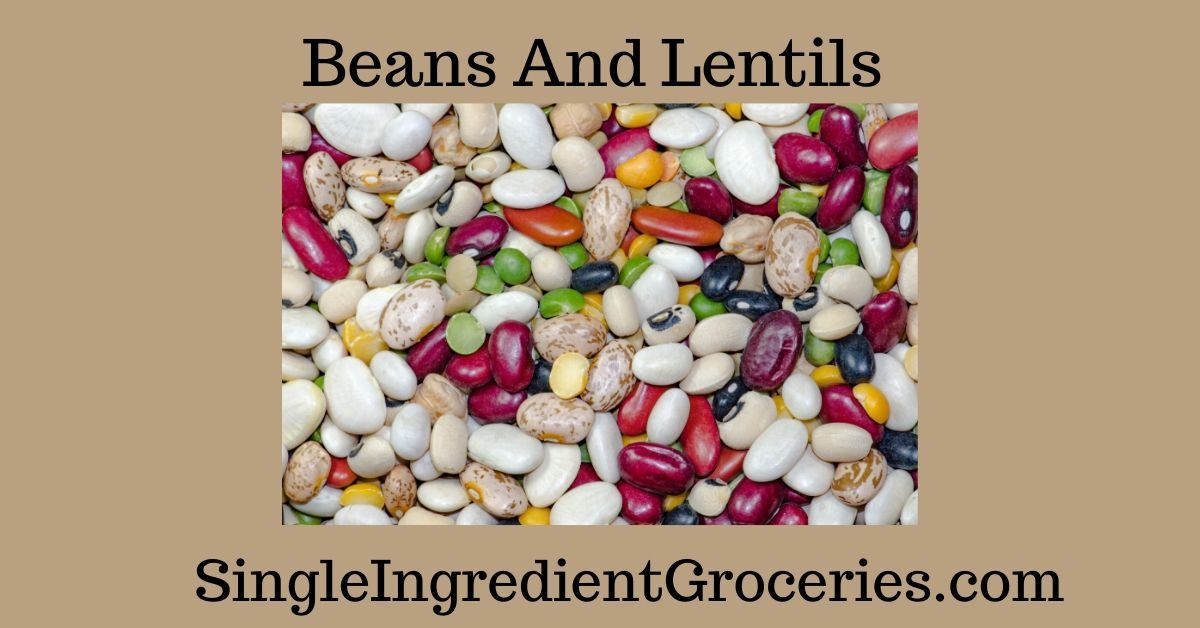 """BLOG IMAGE FOR SINGLE INGREDIENT GROCERIES TITLED """"BEANS AND LENTILS"""" WITH PHOTOGRAPH OF A VARIETY OF BEANS AND LENTILS AND GREEN SPLIT PEAS"""
