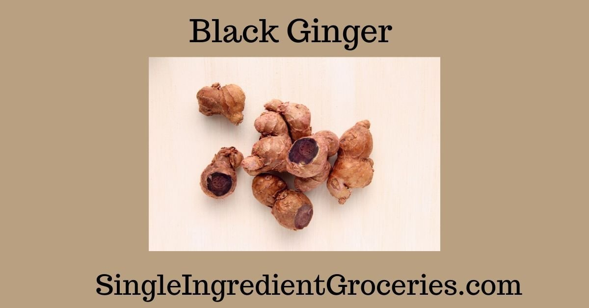 """BLOG IMAGE TITLED """"BLACK GINGER"""" WITH IMAGE OF BLACK GINGER IN WHOLE FORM AND SLICED BLACK GINGER WITH PURPLE FLESH"""