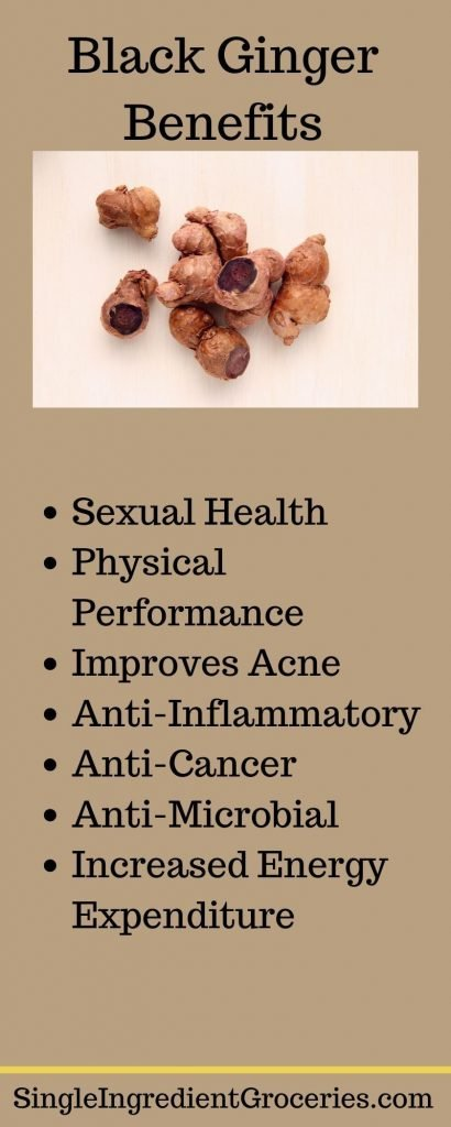 "INFOGRAPHIC TITLED ""BLACK GINGER INFOGRAPHIC"" WITH IMAGE OF FRESH BLACK GINGER WITH PURPLE FLESH AND LIST OF BENEFITS INCLUDING SEXUAL HEALTH"