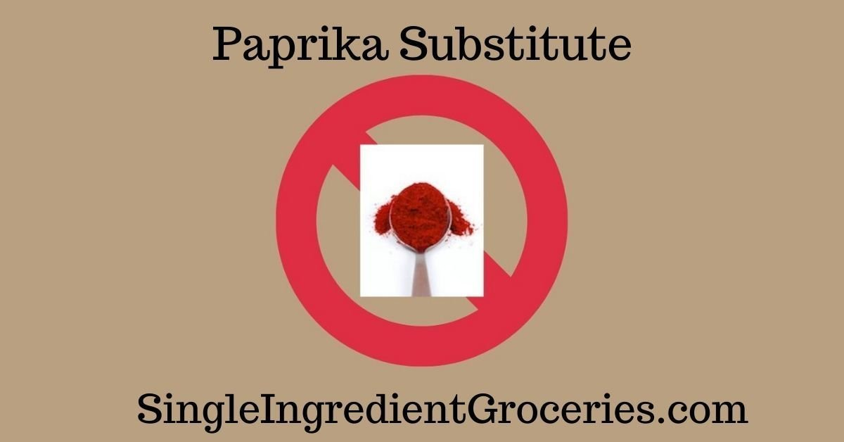 """BLOG IMAGE FOR SINGLE INGREDIENT GROCERIES WITH TITLE """"PAPRIKA SUBSTITUTE; IMAGE OF A SPOON OF POWDERED RED PAPRIKA SUPERIMPOSED ON A RED CIRCLE WITH A STRIKE THROUGH LINE INDICATING """"NO"""" OR """"NO PAPRIKA"""""""