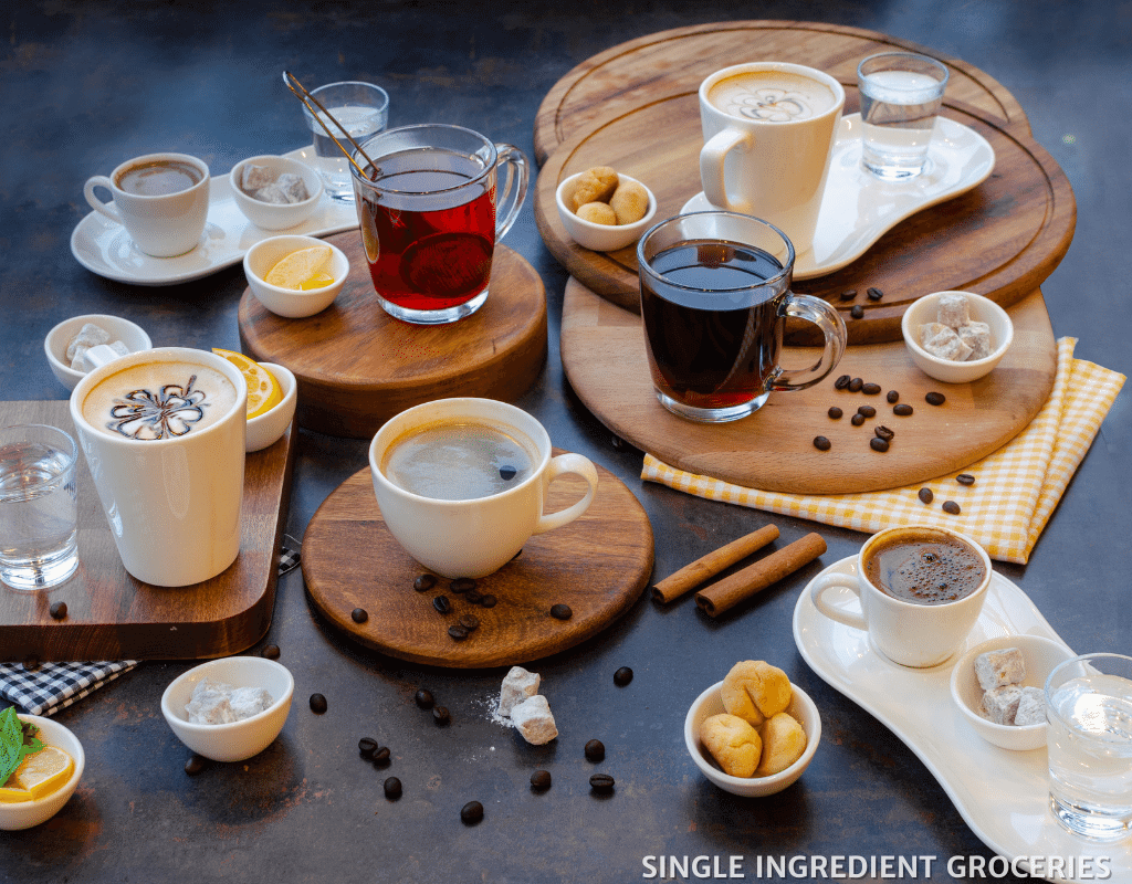 many types of coffee displayed on a table