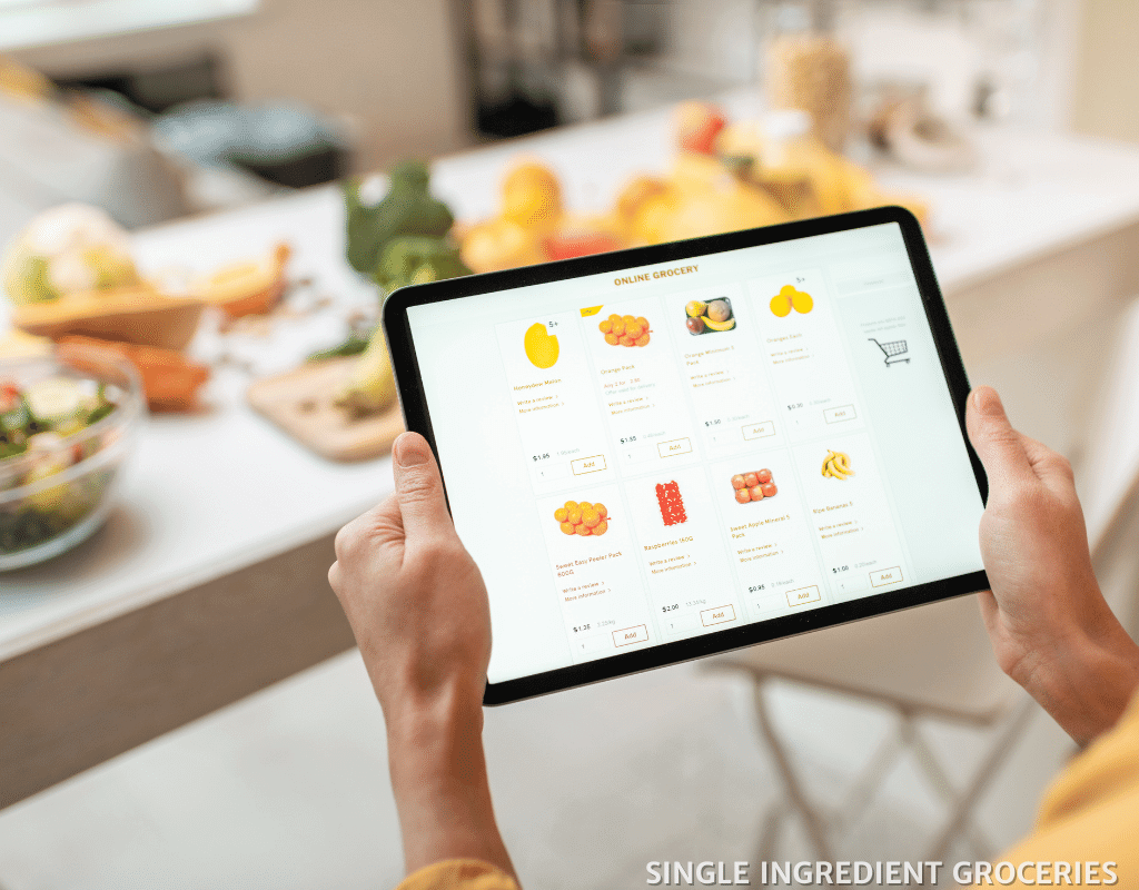 online grocery shopping with tablet