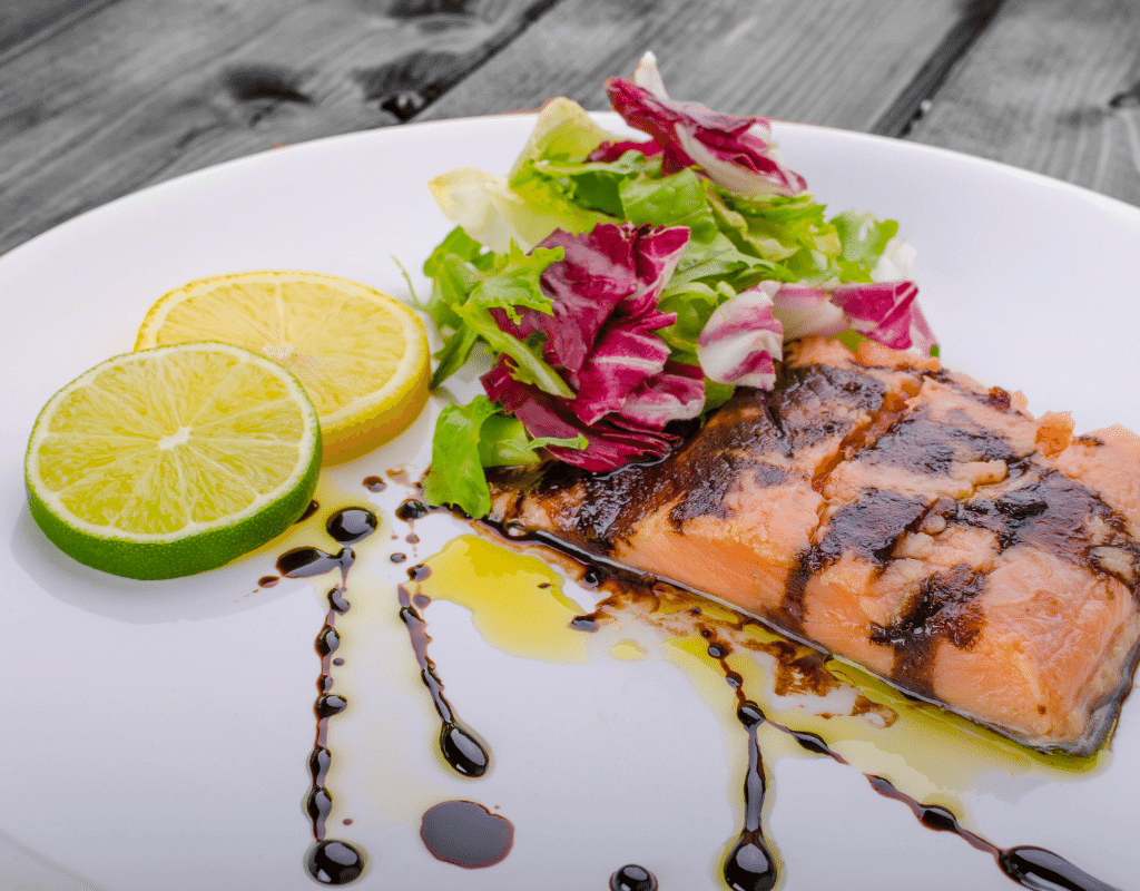 grilled salmon with balsamic drizzled on top