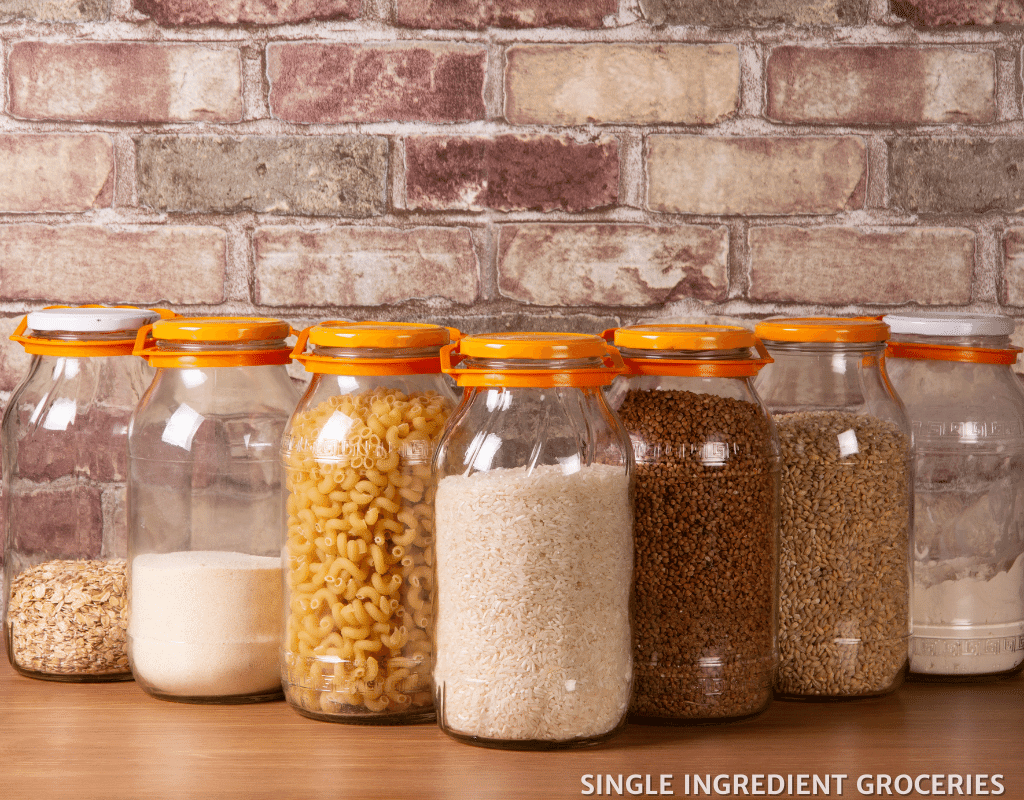 different types of grains stored in jars
