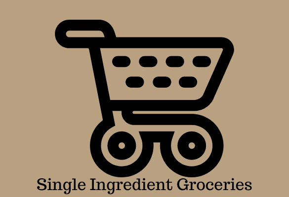 """logo for single ingredient groceries; black outline drawing of grocery cart on tan background with text """"Single Ingredient Groceries"""""""
