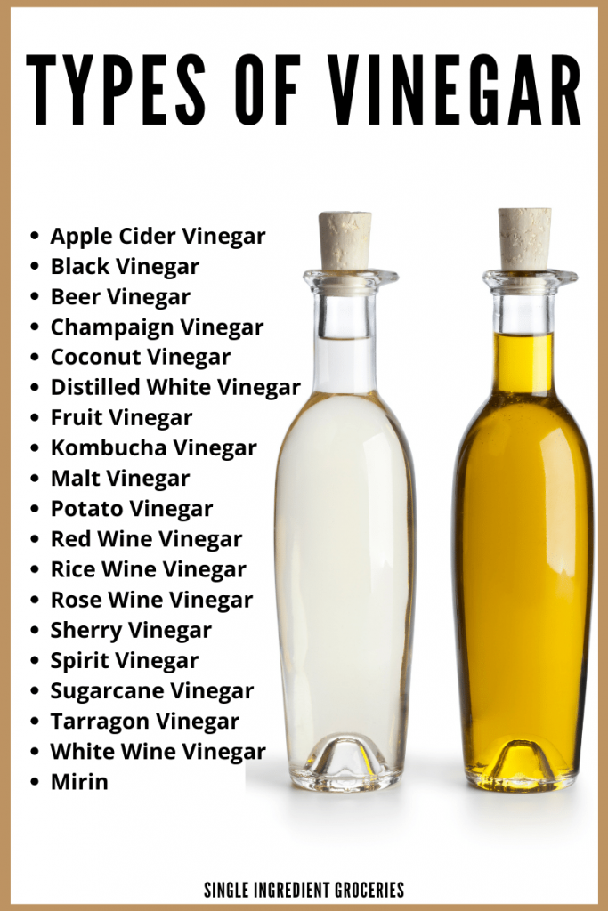 types of vinegar list with vinegar bottles displayed
