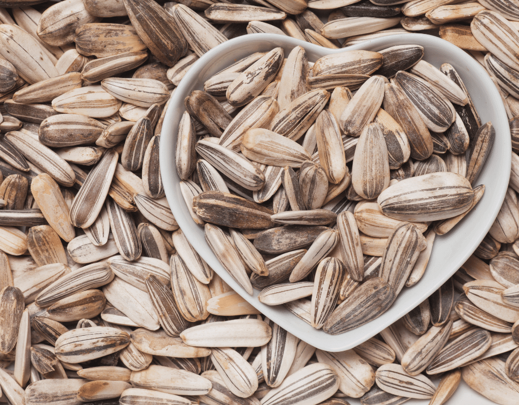 sunflower seeds in a heart-shaped bowl