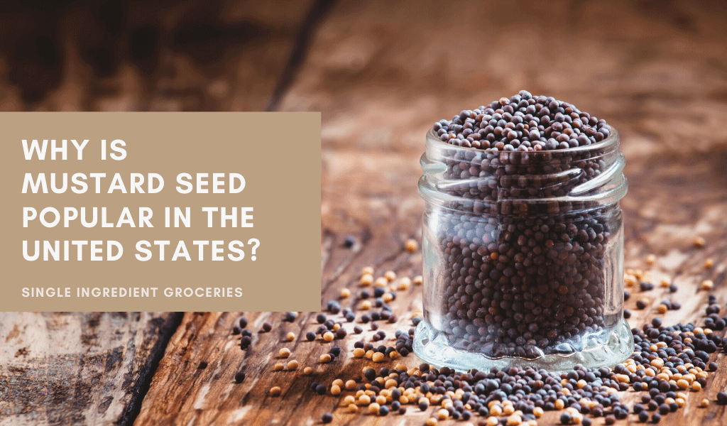 whole mustard seeds in a jar on wood table