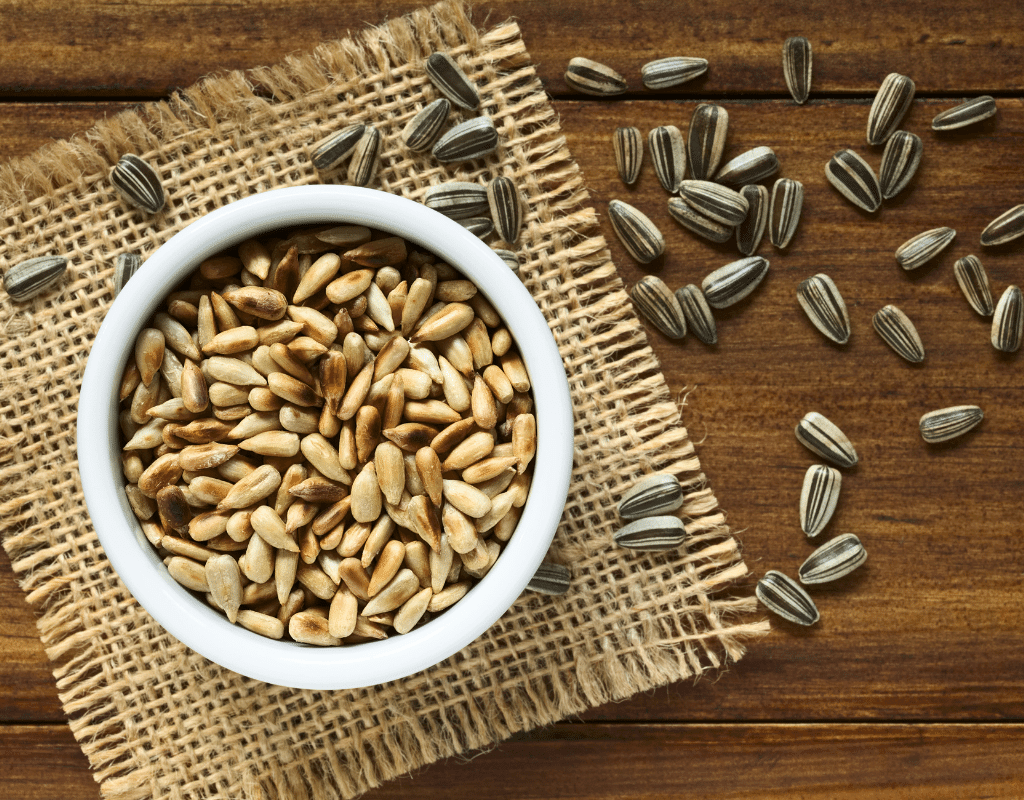 roasted sunflower seeds in a while bowl