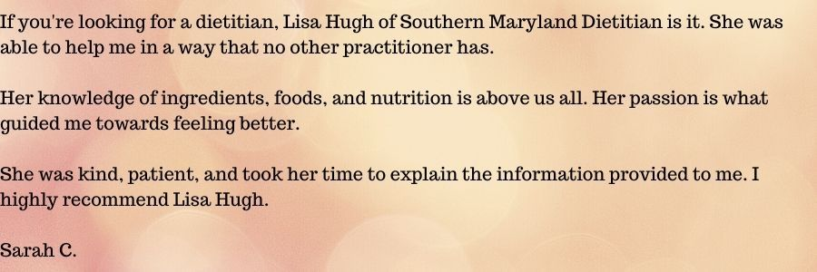 Testimonial about Lisa Hugh (founder of Single Ingredient Groceries) and food, ingredients, and nutrition from Sarah C.