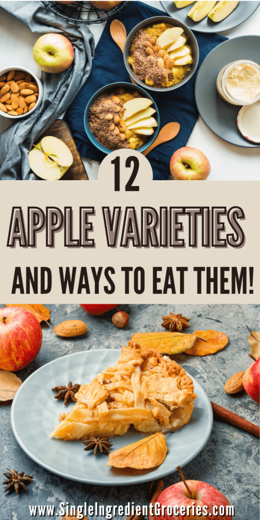 apple varieties blog graphic with apple oatmeal and apple pie