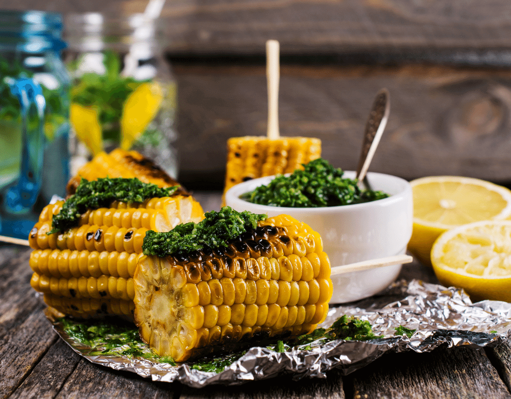 grilled corn on the cob is a starchy vegetable.