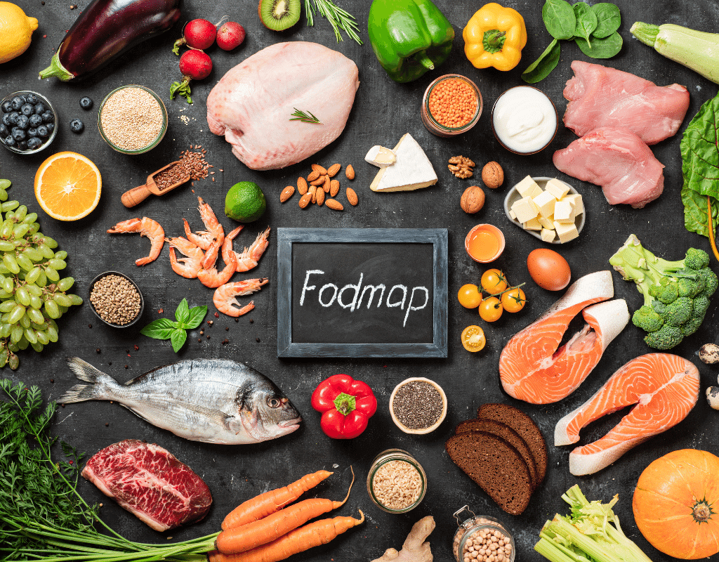 food on a table with a fodmap sign