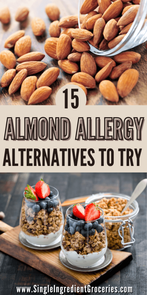 15 almond allergy alternatives to try, image of almonds and nut free granola
