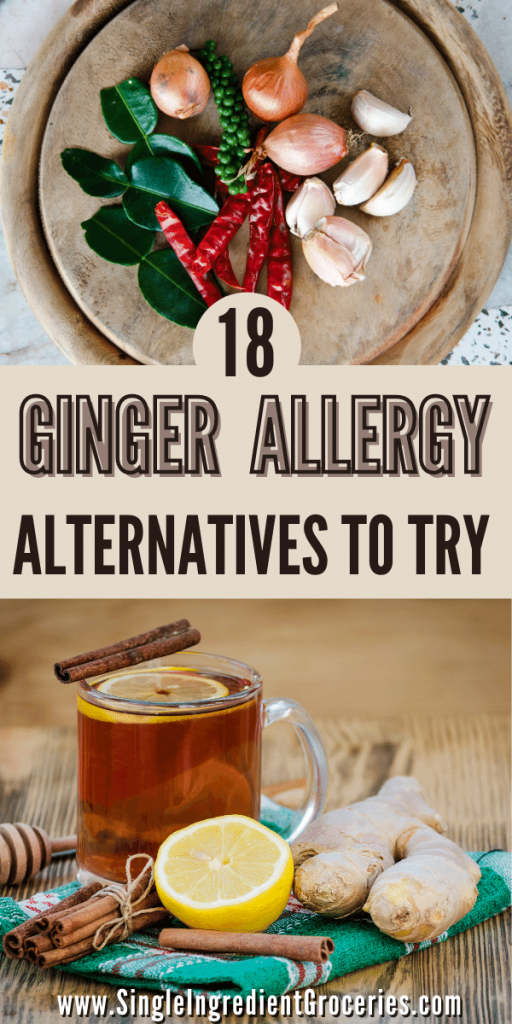 ginger allergy alternatives to try pinterest graphics with bay leaves, garlic, shallots and ginger displayed