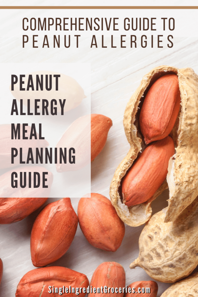 peanut allergy meal planning guide pinterest graphic with peanuts displayed