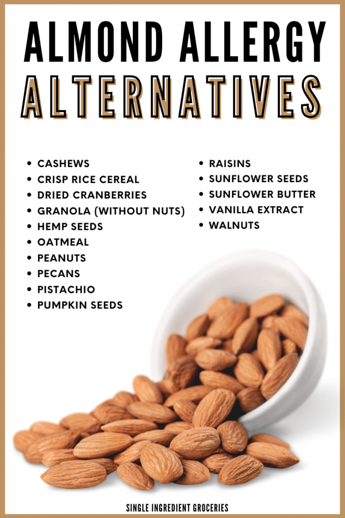 Blog graphic of almonds in a white bowl for almond allergy alternatives