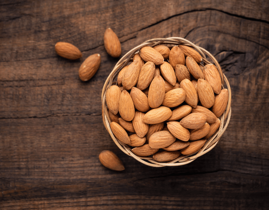 almond allergy image of almonds in a bowl on a wooden background