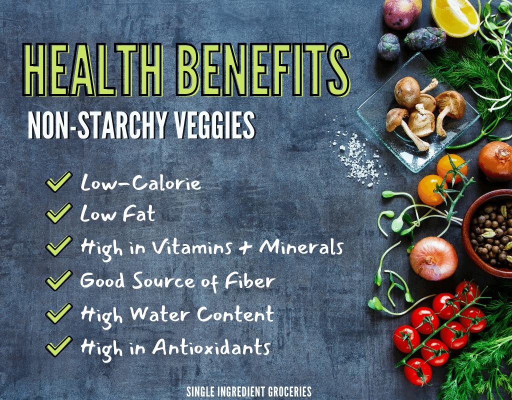 health benefits of non-starchy veggies graphic with garden vegetables displayed on a dark background