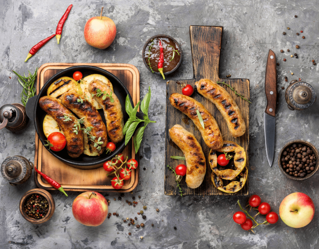 apple chicken sausage displayed in bowls and cutting boards for apple allergy