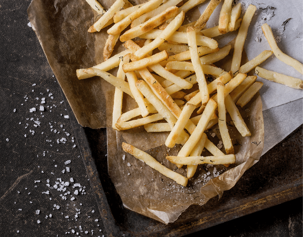 french fries in a metal pan
