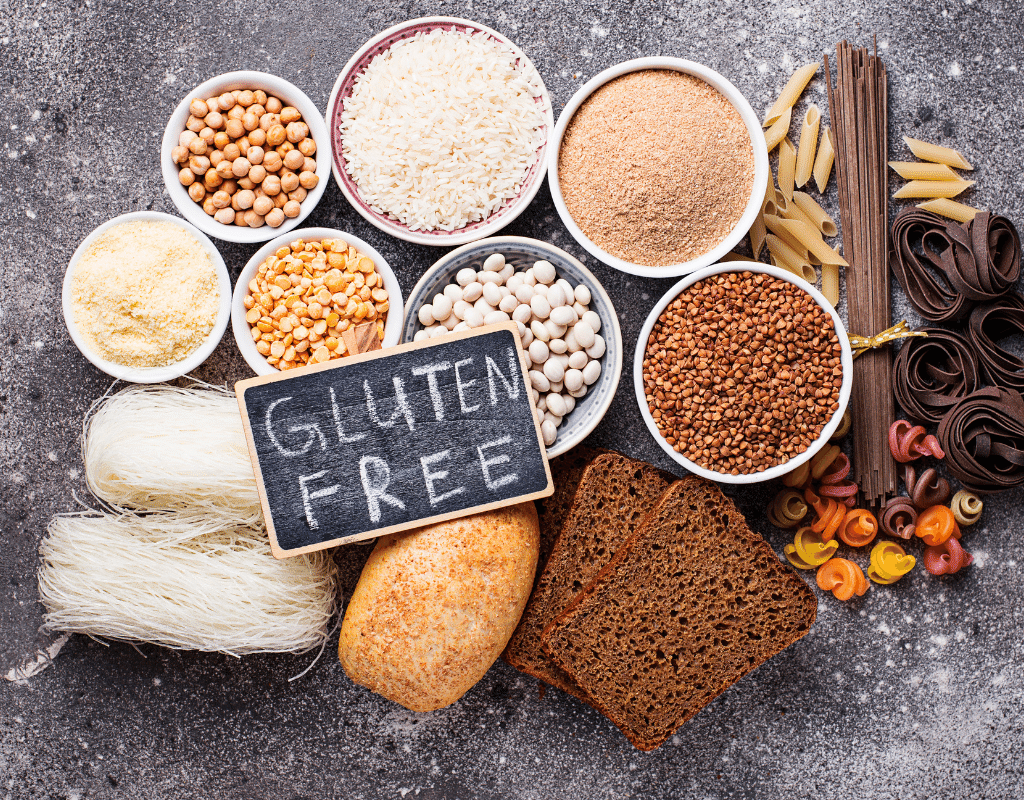 gluten free foods displayed on a table for a therapeutic diet