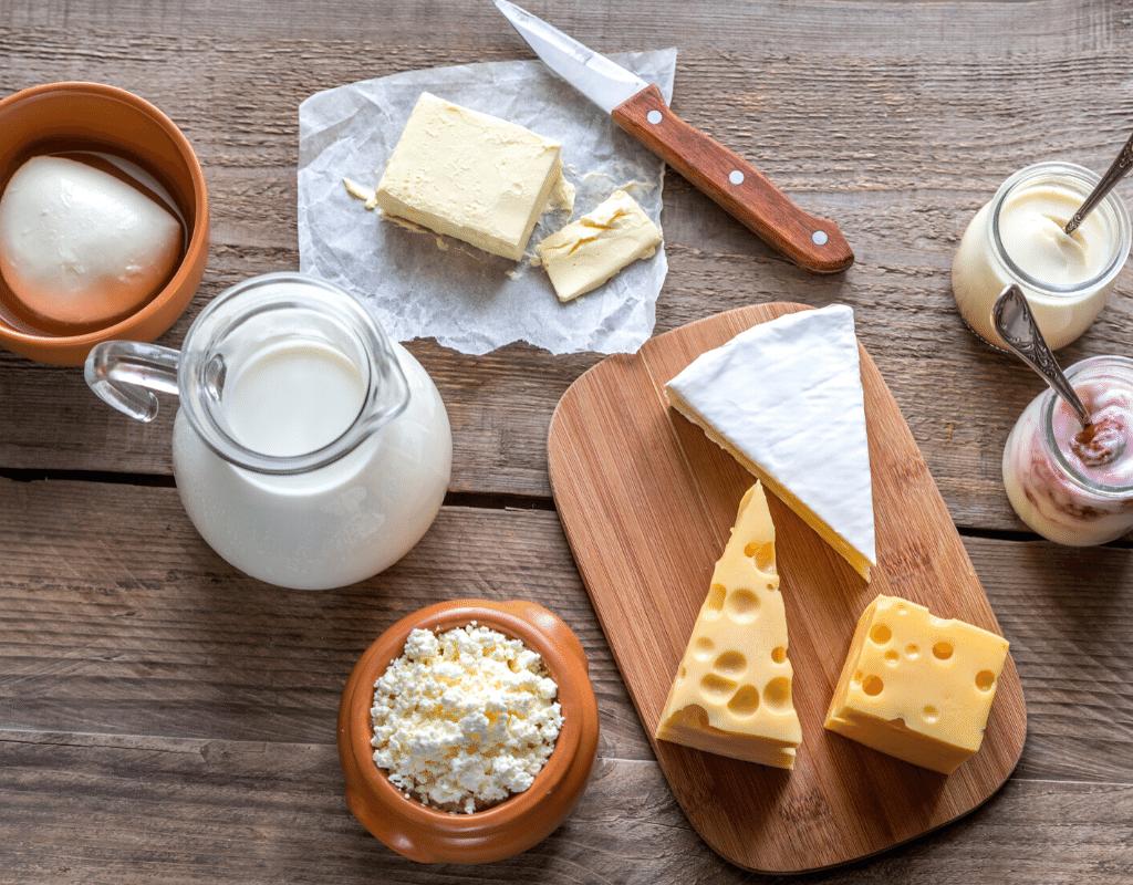 dairy foods: swiss cheese, milk, butter, yogurt