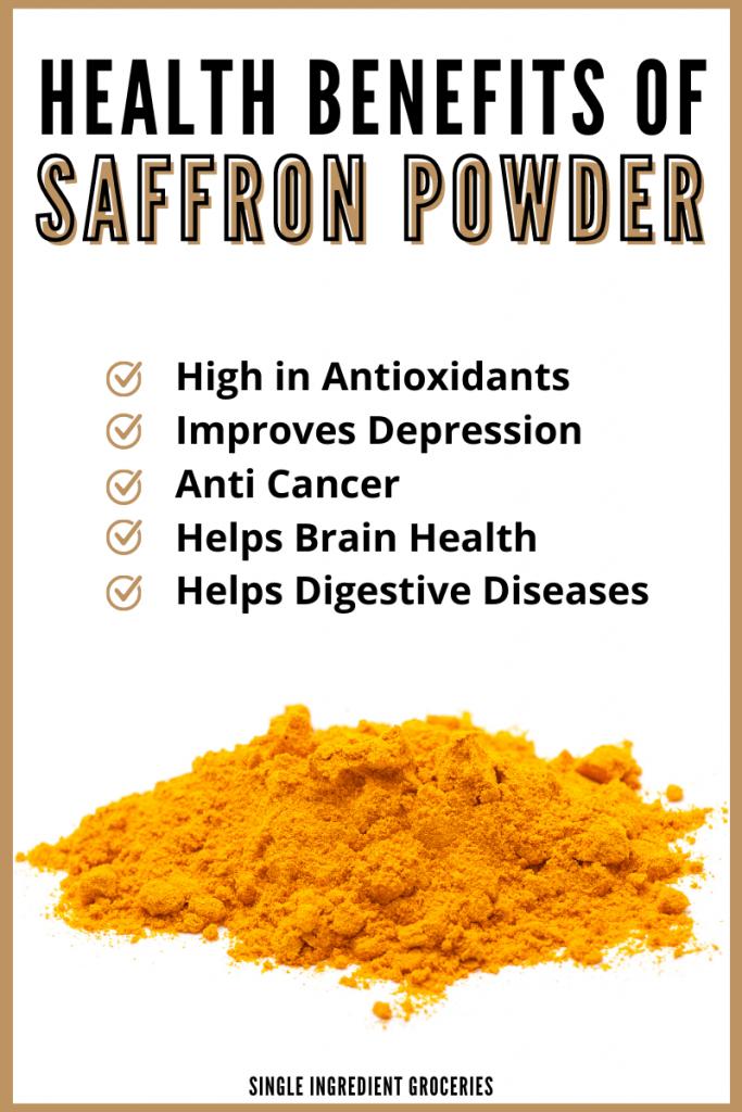 saffron powder health benefits graphic