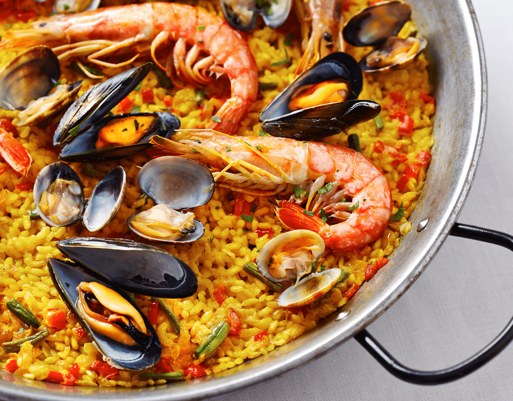 shrimp, clams, mussels and rice paella