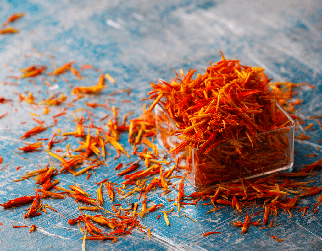 saffron threads displayed on a table